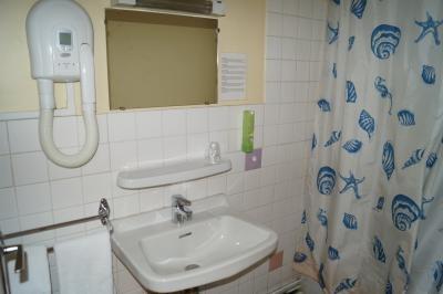 salle de douche avec sèche cheveux dans les chambres classique de l'hôtel de Verdun à Nevers